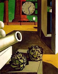 """by Giorgio de Chirico (Italian 1888~1978) was an artist , who in the years before WWI founded 'The Scuola Metafisica"""" ART Movement, which profoundly influenced the Surrealists. After 1919, he became interested in traditional painting techniques, and worked in a neoclassical or neo-Baroque style, while frequently revisiting the metaphysical themes of his earlier work."""