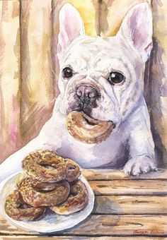 French Bulldog with bagels in bakery Print of the Original Watercolor Painting art cute Dog painting Decor Funny Play dog and food in cafe by GeorgeWatercolorArt on Etsy