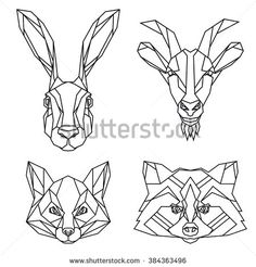 Set of hare, goat, fox and raccoon vector animal heads drawn in line or triangle style, suitable for modern tattoo templates, icons or logo elements - stock vector