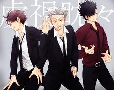 Haikyuu!!, Bokuto Koutarou, Kuroo Tetsurou, Ooikawa Tooru, Two-tone Hair http://www.zerochan.net/1737219