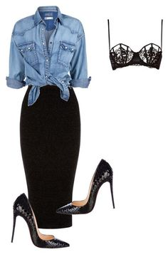 Long black skirt, denim shirt, sexy lace black bra and black flats or pumps.
