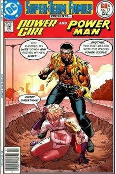 Super-Team Family: The Lost Issues!: Power Girl and Power Man. I really enjoy this Dc Comic Books, Comic Book Covers, Comic Book Characters, Comic Book Heroes, Comic Character, Comic Pics, Comic Art, Luke Cage, Dc Comics