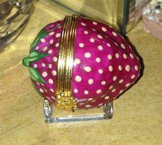 RARE Tiffany Limoges France Peint Main Strawberry Porcelain Trinket Box - $95 on Ebay