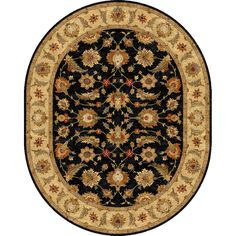 cool Tufted D94 Traditional Gray/ Black Wool Oval Rug (8' x 10') Check more at http://yorugs.com/product/tufted-d94-traditional-gray-black-wool-oval-rug-8-x-10/