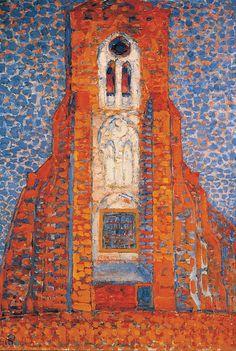 "terminusantequem: ""Piet Mondriaan (Dutch, 1872-1944), Sun, Church in Zeeland, Zoutelande Church Facade, 1910. Oil on canvas """