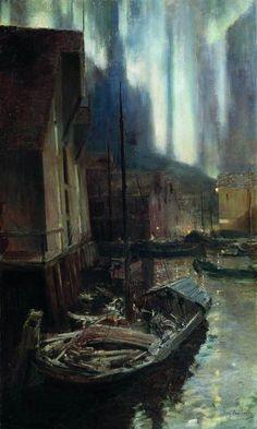 urgetocreate:  Konstantin Korovin, Hammerfest, Northern Lights, 1894-95 #cityscape