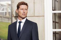 The Bondi Slim Fit suit in Super 150's Pure Australian Merino Wool (blue microdesign with delicate stripe).