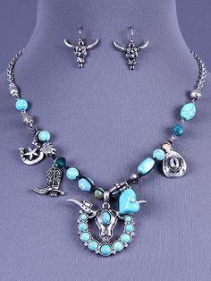 Cowgirl Bling Ranch, LLC - Western Steer Head and Horseshoe Necklace and Earring Set, $13.99 (http://www.cowgirlblingranch.com/western-steer-head-and-horseshoe-necklace-and-earring-set/)