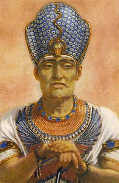 Artist's conception of what Pharaoh Ramesses III may have looked like, according to the appearance of his mummy.   Ramesses III is wearing the Egyptian Blue Crown of War.   The Art of Winifred Brunton - Ramesses III.