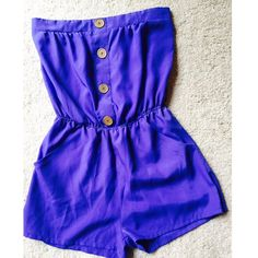 Purple strapless romper with gold button detail Pull on.  Light weight. Nwot. Other