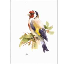 European Goldfinch  Original unframed watercolor painting on a high quality Acid Free Saint-Armand handmade watercolor paper that has a rough surface and natural deckle edges. Hand painted and signed by the artist Maria Stezhko.  This whimsical bird is painted on a beautiful and rare