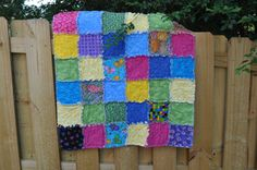 Girl Rag Quilt, Bright Colors and Butterflies, great baby shower gift, great size for a toddler, a great quilt for dolls. Ready to ship!