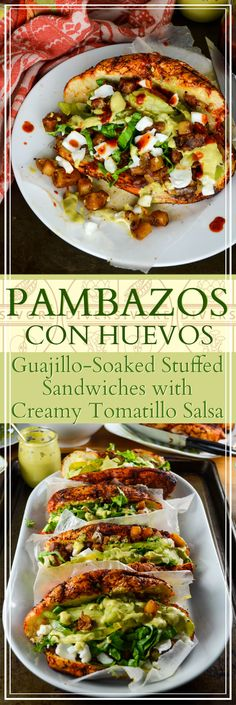 Pambazos con Huevos - Mexican Chili-soaked Sandwiches, stuffed with spiced potatoes and a creamy egg salsa verde. Mexican Food Recipes, Vegetarian Recipes, Ethnic Recipes, Vegetarian Sandwiches, Vegetarian Diets, Vegetarian Mexican, Sandwich Recipes, Great Recipes, Favorite Recipes