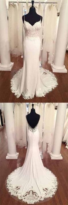 Spaghetti Strap V-Neck Vintage Lace Mermaid Backless Appliques Jersey Beach Wedding Dress,#cheapweddingdressuk,#lacesweetheart,#promdressuk