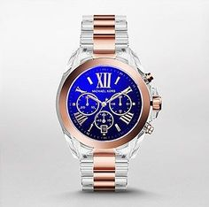 b06ae1d83ba3 Michael Kors MK5950 Women s Bradshaw Rose Gold Tone  amp  Clear Acetate  Chrono watch Michael Kors