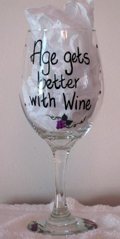 Hand Painted Wine Glass by SarahBrasse on Etsy, $19.95