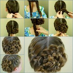 DIY Updo Lace Braid Rose Hairstyle