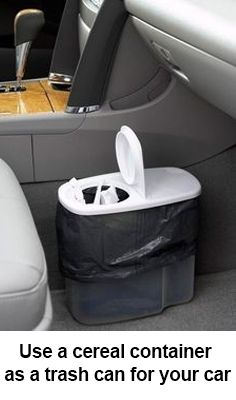 This is seriously genius, buy a $1 cereal container and use it as a trash can to keep your car clean and tidy!
