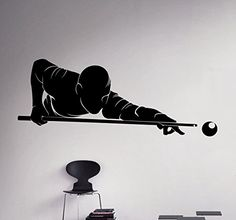 Billiards Player Wall Decal Sport Game Vinyl Sticker Home Decor Ideas Room Interior Removable Wall Art >>> You can get additional details at the image link. (This is an affiliate link)