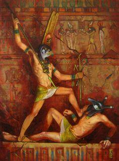 Horus and Set by GlaringDragon.deviantart.com on @deviantART