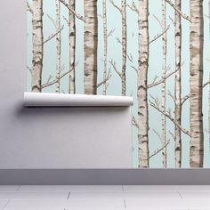 Nursery Wallpaper  Birch Grove in Sky by Willow by Spoonflower