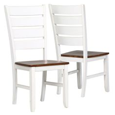Monarch Bowers Antique White & Oak Ladder Back 2 Piece Side Chairs - I 1853
