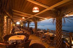 Bamboo cafe with wonderful sea-view in Kalamaki Beach Crete Crete Holiday, Amazing Sunsets, Beach Fun, Beaches, Greece, Bamboo, To Go, Romantic, Patio