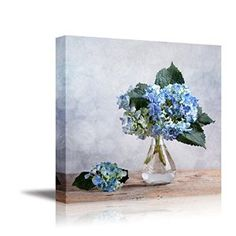 "Amazon.com: Blue Hortensia Flowers in Glass Vase, Still Life | Stretched Canvas Prints - 16"" x 16"": Posters & Prints"