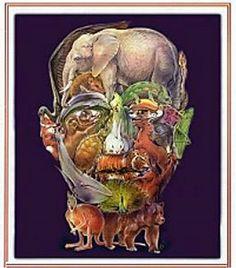 Ilusões de ótica - Descubra as coisas escondidas nas imagens! | Mix Total 30 animais formam esse rosto. Consegue encontrar todos?