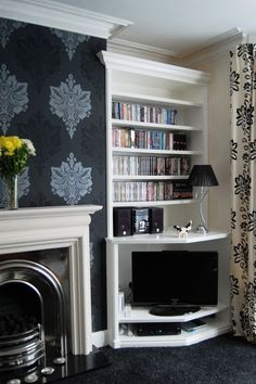 The Alcove Company makes alcove shelving, alcove cupboards, bookcases and TV cabinets by agnes. Alcove Storage, Alcove Shelving, Alcove Cupboards, Paper Storage, Storage Ideas, Corner Tv Cabinets, Corner Cupboard, Shelving Ideas, Wallpaper Fireplace