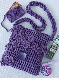 Crochet World Free Pattern - Filet Stitch Bag & Coin Purse