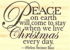"{Single Count} Unique & Custom (2"" by 1 1/2"" Inches) ""Peace On Earth, Helen Steiner Rice Quote"" Rectangle Shaped Genuine Wood Mounted Rubber Inking Stamp"