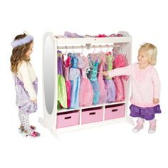 Dress Up Storage Center - Dress Up Storage Center - Now your daughter can have more space to store all of her costumes, jewelry, shoes and dramatic play items. There are sturdy hooks for hanging, a tall acrylic mirror and fabric bins to store all she'll need to play pretend.
