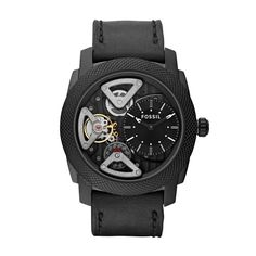 FOSSIL® Watch Collections Machine Watches:Men Machine Twist Leather Watch – Black ME1121