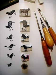 a Stamp a Day: get students to carve a themed stamp collection for a printmaking unit - yr 9
