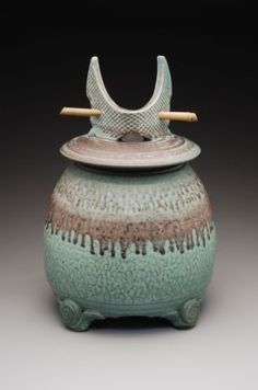 *Bold Lidded Stoneware Jar (by Mark Heimann)