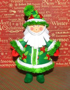 Quilling Santa Green Сhristmas ornament Handmade by QuillingLife