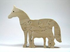 Natural Wood Horse Puzzle: