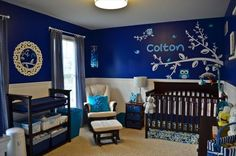 navy and white baby room | Baby Nursery Photos - Unique Nursery Ideas
