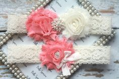 Light Coral and Ivory Bridal Garter and Toss Garter - Light coral Wedding Garter Set - Ivory or White Stretch Lace. $24.00, via Etsy. BellaSposina