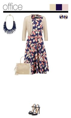 """Office outfit: Navy - Nude - Floral"" by downtownblues ❤ liked on Polyvore featuring LYDC, Mai Piu Senza, Tiffany & Co. and Yochi"