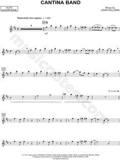 """Cantina Band - Alto Sax"" from 'Star Wars' Sheet Music (Alto Saxophone Solo)… Star Wars Sheet Music, Trombone Sheet Music, Alto Sax Sheet Music, Trumpet Sheet Music, Saxophone Music, Tenor Sax, Violin Songs, Bass Clarinet, Cello Noten"