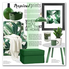 """tropical prints"" by nanawidia ❤ liked on Polyvore featuring interior, interiors, interior design, home, home decor, interior decorating, Society Social, Blu Dot, Pottery Barn and NOVICA"