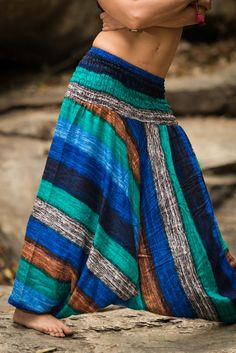 "Amazingly soft Boho Turquoise Striped Low-Cut Women's Harem Pants. Cotton/Rayon Blend. Free International Shipping on Orders over $60 at HaremPants.com Approx. Measurements: Waist: 24"" to 38"" Hips: up"