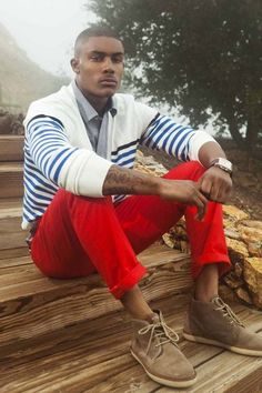 Red pants w/white & blue striped sweater, very nice...V