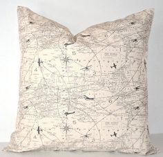 Decorative Throw Pillow Cover - World Map - Air Travel - Natural Vintage - Premier Prints - Available in 16x16, 18x18, 20x20 on Etsy, $14.95