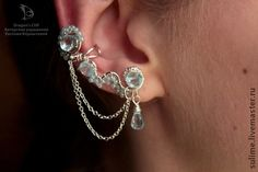 """Lovely silver plated ear cuff with blue topaz """"Morning tenderness"""" sulime.livemaster.ru www.vk.com/dragonscliff"""