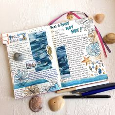 "132+ Likes Art journal by Kathy. (@kathrynzbrzezny) on Instagram: ""Goodbye July. Journaling on this last day of my favorite month, feeling the feelings of change and…"""