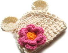 Baby Hat with Ears, Crocheted Infant Beanie Hat with Ears and Flower, Baby Girl Hat, Baby Girl, Cream, Ivory and Rose Pink, MADE TO ORDER