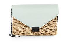 Loeffler Randall | Leather & Straw Envelope Clutch | SAKS OFF 5TH